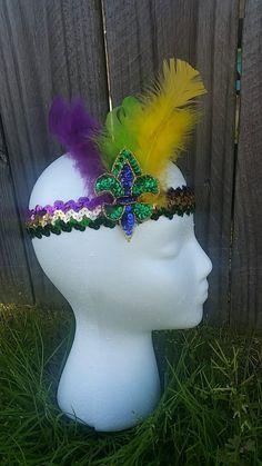 Fleur de Lis Mardi Gras Headband with by BabyGraffitiBoutique
