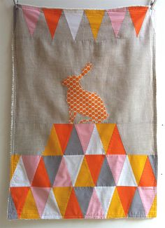 Circus Stroller Quilt, rabbit, orange triangles, via TreefallDesign on Etsy #kid #bedroom #bedding