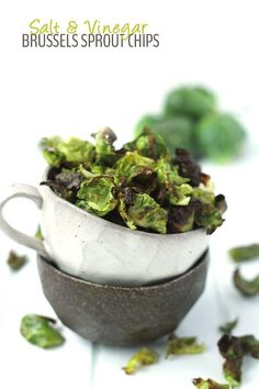 Salt and Vinegar Brussels Sprout Chips by @healthymaven #paleo