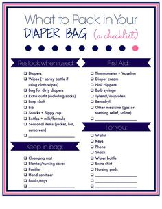 A Perfectly Packed Diaper Bag (plus tips for organizing your own diaper bag!) at LaurasPlans.com: A free printable checklist