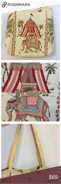 """Cynthia Hart Los Angeles Beaded Elephant Palm Bag • Print of a man riding an elephant, tent, & palms • Seed Beaded • Leather Trim (I'm not sure if leather is faux),  handles, & bottom • Fully lined interior w/ a zippered separator pocket & a zippered wall pocket • Interior magnetic tab closure • Two handles have 12.5"""" drop, the leather is in good condition w/ a few smudges • 12.5"""" height x 12"""" width x 3.5"""" depth • Bag is in overall good condition, please see the pictures as the bottom…"""