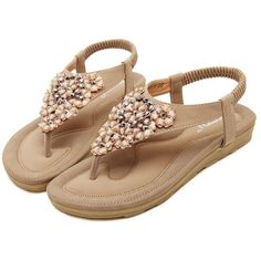 Meeshine Women's Summer Thong Flat Sandals T-Strap Bohemian Rhinestone... ($25) ❤ liked on Polyvore featuring shoes, sandals, flip flops, summer sandals, beige flat sandals, beige flats, wide sandals and flats sandals