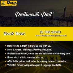 Get to Portsmouth ferry port in double quick time and without the hassle by pre-booking your taxi transfer to this busy ferry terminal. Call us for more details. London Airports, South East England, River Thames, North Sea, Portsmouth, Taxi