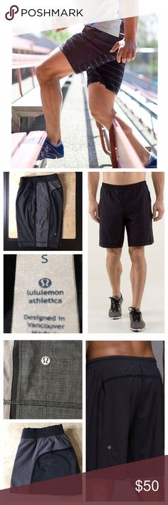 Lululemon {Men's} Run Pacer Short In plaid with light grey. Stock pics were used for styling, they are same style just different color. Made for multi-sports.Luxtreme lined. Breathe light fabric  liner is sweat wicking with added lycra fibre.Zippered pocket for the extras and inside drawstring. Designed to sit at waist. New condition, worn once. Onlysmall flaw islulu logo has a tinyscratch that canonly be seen upclose. Other than that perfect. All reasonable offers are welcome! Please make…