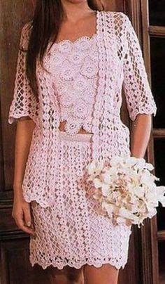 Vestido a crochet blusa y falda