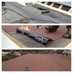 Flat roof being laid with tekno torch felt