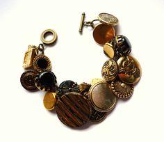 black glass  vintage button bracelet by lonelyhearts on Etsy, £21.00