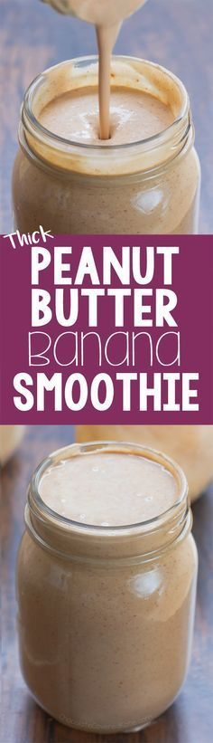 An ultra thick and creamy peanut butter banana smoothie recipe that tastes like a milkshake but is actually good for you! /choccoveredkt/