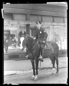 Mounted police officer Emmett Raine posing on a horse at Eighth and Franklin (later renamed Dr. Martin Luther King Drive). Photograph taken by Isaac Sievers in 1933. Sievers Studio Collection, Missouri History Museum.