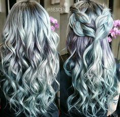 Gray muted purple Shark blue braids waves