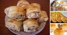 Strudel with ham and cheese Slovak Recipes, Czech Recipes, Russian Recipes, Ethnic Recipes, Cheese Recipes, Seafood Recipes, Chicken Recipes, Pizza, Food Network Recipes