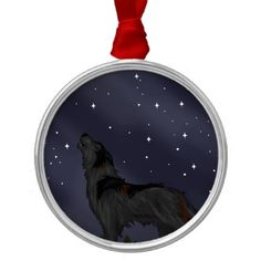 Howling Wolf Ornaments #wolf #wolves #animals #stars #night