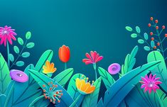 Download Summer Border With Paper Cut Fantasy Flowers, Leaves, Stem Isolated for free