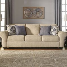 Sofa Sleeper is a fresh take on a transitional classic. Denim blues and soft neutrals set the tone for this casual look.