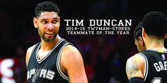 Tim Duncan wins 2014-15 Twyman-Stokes Teammate of the Year Award. READ: http://gospu.rs/1E5hwKd
