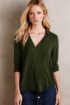 Velvet by Graham and Spencer Reed Henley Blouse #anthrofave