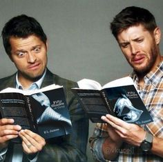 Bahahaha. Best faces ever. >> Misha Collins & Jensen Ackles read Fifty Shades of Grey