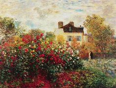 The Artist's Garden in Argenteuil. By Claude Monet, Oil on canvas. Monet was a founder of the impressionist art movement. Monet's landscape paintings, including The Artist's Garden in Argenteuil, are well known for showing the effect of light on the Monet Paintings, Impressionist Paintings, Landscape Paintings, Canvas Paintings, Landscape Art, Landscapes, Claude Monet, National Gallery Of Art, Art Gallery