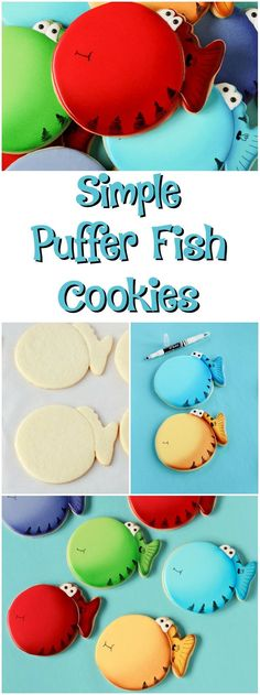 Simple Puffer Fish Cookies -Sugar Cookies Decorated with Royal Icing via http://www.thebearfootbaker.com