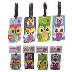 Cute Colourful Owl PVC Luggage Tag Owls Bag Label (372)