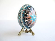 Blue and Brown Pysanka, batik egg on chicken egg shell, Ukrainian Easter egg, hand painted egg