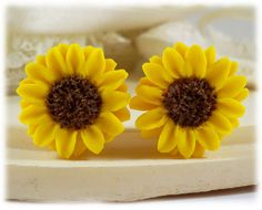 Sunflower Earrings Stud  Yellow Sunflower by strandedtreasures, $20.00