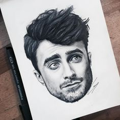 """Finally finished my drawing of Daniel Radcliffe ⚡️"""