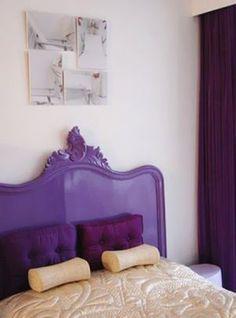 Purple mauve lilac photos - Bed with purple bedhead   www.myLusciousLife.com