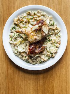 Quail, confit garlic and celeriac risotto: Easy but impressive recipe for quail, confit garlic and celeriac risotto from Oldroyd's