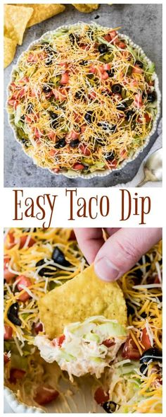 to make the best, easiest TACO DIP! I love this dip and everyone always want. How to make the best, easiest TACO DIP! I love this dip and everyone always want. How to make the best, easiest TACO DIP! I love this dip and everyone always want. Layered Taco Dip, Cookout Food, Potluck Food, Snacks Sains, Yummy Appetizers, Easy Appetizer Dips, Easy Party Dips, Mexican Food Appetizers, Easy Appitizer