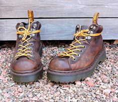 official photos 05d8f 2f4bf Dr Martens England boots womens 7  vintage Doc Marten AW004 hiking boots   brown leather grunge lace up ankle boots
