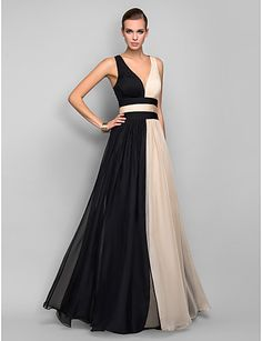 A-line/Princess V-neck Floor-length Chiffon Refined Evening Dress - ILS ₪ 341.56