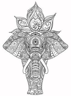 lotus flower tattoo designs: Greeting Beautiful card with Elephant. Frame of animal made in