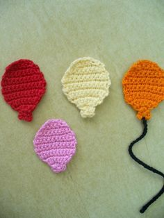 Crocheted Balloon Appliques Embellishments Magnets or Pins Crochet Applique Patterns Free, Crochet Bookmark Pattern, Crochet Bunting, Crochet Bookmarks, Crochet Flower Patterns, Crochet Patterns For Beginners, Baby Knitting Patterns, Crochet Motif, Crochet Flowers