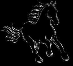 Beautiful Horse Rhinestone Iron on T Shirt Design Dot Art Painting, Mandala Painting, Painting Patterns, Motifs Perler, Rhinestone Art, String Art Patterns, Mandala Dots, Diamond Art, Beading Patterns