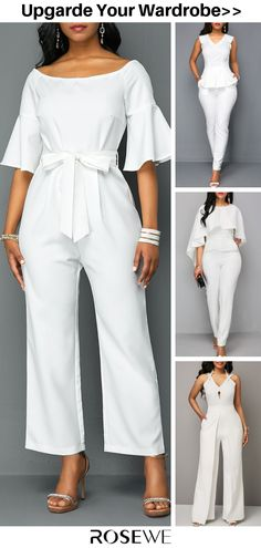 Hot Sale & Flare Sleeve Off the Shoulder White Summer Jumpsuit - Women's fashion Outfits In Weiss, Mom Outfits, Chic Outfits, Fashion Outfits, Women's White Outfits, Modest Fashion, Latest African Fashion Dresses, Latest Fashion For Women, Womens Fashion