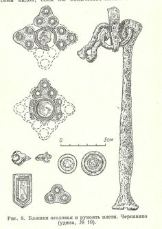 """10-11th century Tjernavino, Russia. """"Rangle"""" or whip and fittings."""
