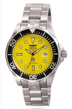 ab266ccc079 Invicta Men s Automatic Stainless Steel Watch - Grand Diver Yellow Dial  Date