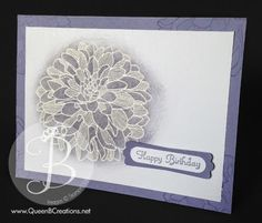 Happy Birthday! Emboss resist technique using the Regarding Dahlias stamp set by Stampin' Up!