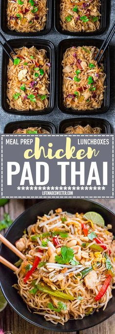 Easy and Authentic Chicken Pad Thai makes the perfect simple weeknight meal and great for Sunday meal prep and leftovers are great for school lunchboxes and work lunch bowls. Best of all, this recipe (Gluten Free Recipes For One)