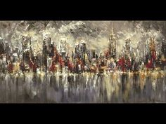 New York City large skyline painting live palette knife demo speed Tatiana iliina - YouTube