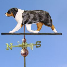 Australian Shepherd Hand Carved Hand Painted Basswood Dog Weathervane Blue Merle at www.DogLoverStore.com