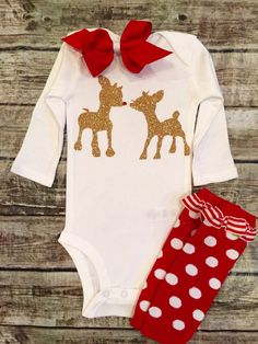 A personal favorite from my Etsy shop https://www.etsy.com/listing/255791388/christmas-onesie-nice-onesie-baby-girl