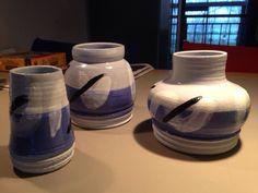Vaasjes 20 cm blauwe klei met claybright