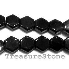 Bead, black Onyx Hexagon. 11mm.  TreasureStone Beads Edmonton.