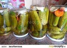 """Znojemský"" nálev na okurky recept - TopRecepty.cz Marmalade, Preserves, Celery, Pickles, Cucumber, Food To Make, Picnic, Food And Drink, Homemade"