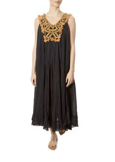 This is the 'Bodega' Black/Orange Grecian Dress by stunning brand Mes Demoiselles. Long cotton embroidered dress, with fine delicate tassels all around the front. Grecian Dress, Leopard Dress, Oversized Coat, Striped Shorts, Yellow Dress, Women Wear, Summer Dresses, Clothing, Orange