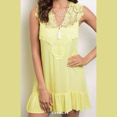 """Darling yellow tunic / dress Color is in between first and second photos, a pretty, lemon yellow. Comfortable and soft Rayon. Crochet detail. A beautiful addition to your spring or summer wardrobe. Wear with leggings or simply as a dress. See lengths below.  Small: 30"""" front length. 34"""" back length. 17.5"""" bust. Medium: 31.5"""" front length. 35.5"""" back length. 18"""" bust. Large: 32"""" front length. 36"""" back length. 19"""" bust. XL: 32.5"""" front length. 36.5"""" back length. 20.5"""" bust.  Photo used with…"""