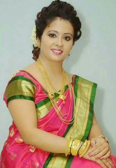 Marathi Saree, Marathi Bride, Wedding Bun Hairstyles, Sari, Culture, Hair Styles, Silk Sarees, Indian, Dresses