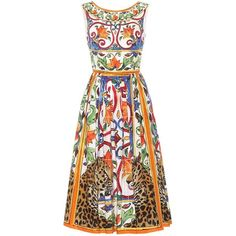f1b99f44b Dolce   Gabbana Printed Cotton Dress (91.150 RUB) ❤ liked on Polyvore  featuring dresses
